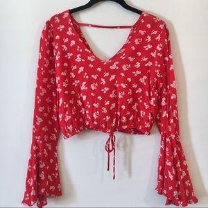 Miss Selfridge Red Floral Long-Sleeve Crop Top